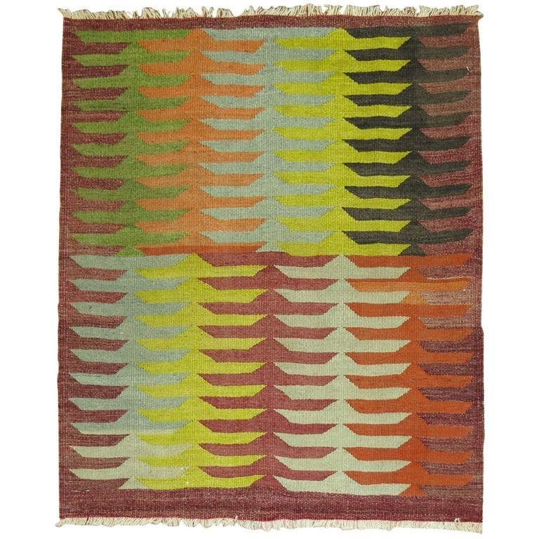 Vintage Turkish Kilim Square For Sale