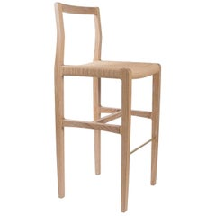 Giacomo Bar Chair or Barstool in Cerused White Oak, Danish Cord, Brass Footrest
