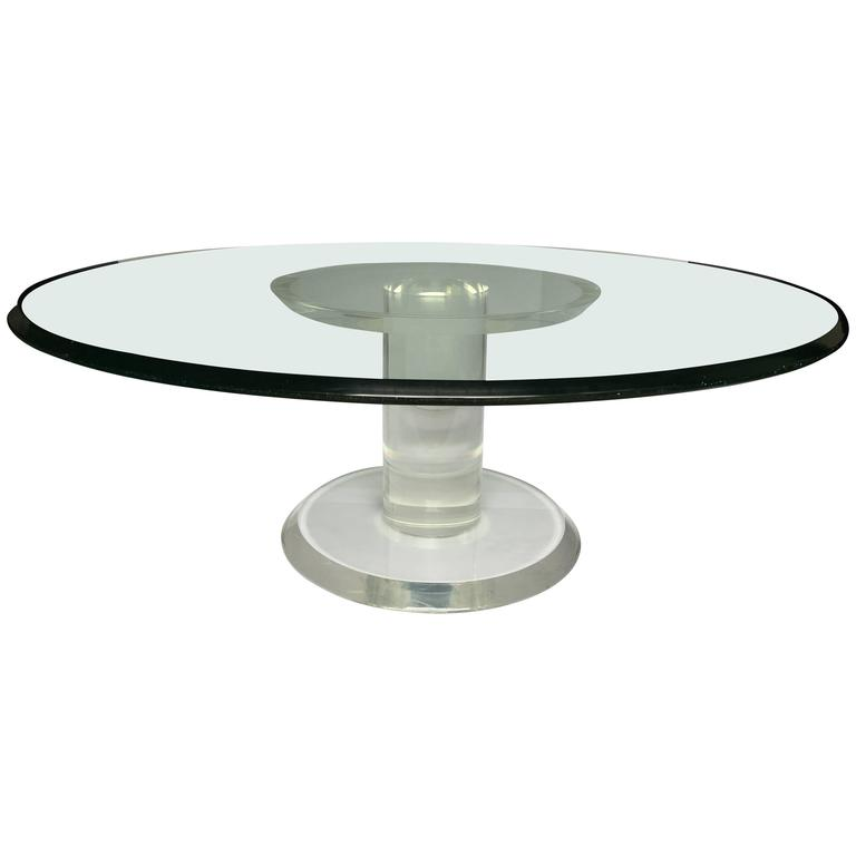 Round Glass Pedestal Coffee Table: Mid-Century Modern Lucite And Glass Pedestal Cocktail