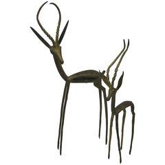 1960s Modernist Brass Gazelle Sculptures, Pair