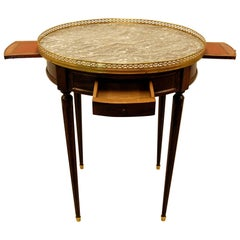 French Louis XVI Style Bouillotte Table w/ Marble Top & Brass Gallery mid 19th C