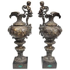 Large 19th Century French Patined Bronze Ewers