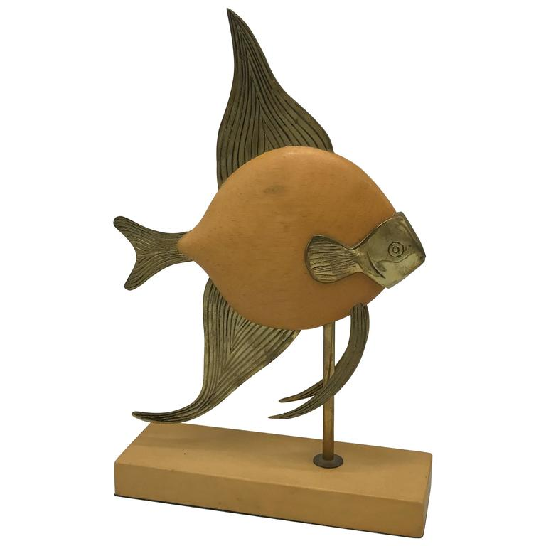 1970s Sarreid Style Brass and Wood Mounted Fish Sculpture For Sale