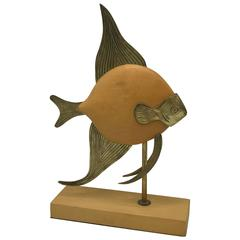 1970s Sarreid Style Brass and Wood Mounted Fish Sculpture