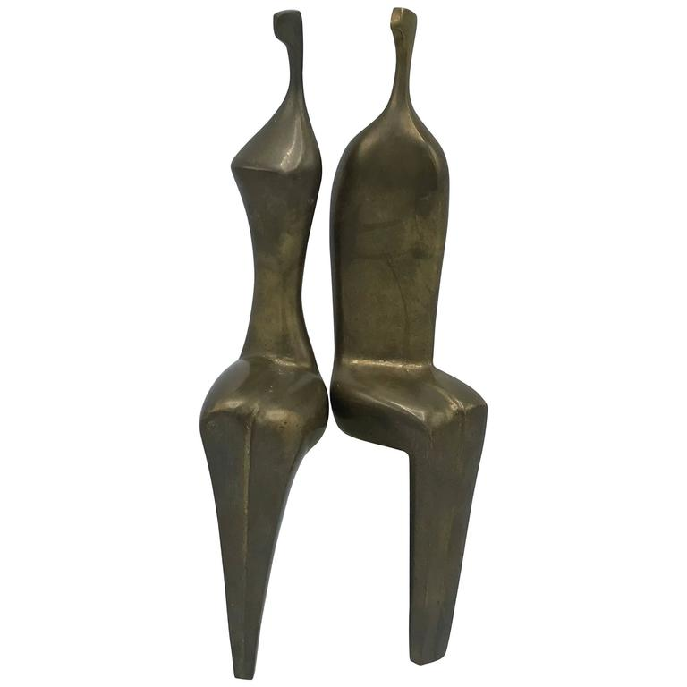 1970s Itzik Benshalom Modernist Bronze Male and Female Sculptures 11/500, Pair
