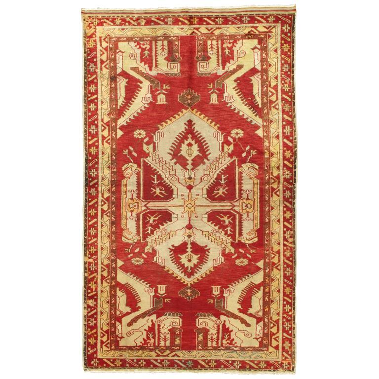 Antique Oushak Rug Turkish Handmade Oriental Red Beige Bold Design 5x8