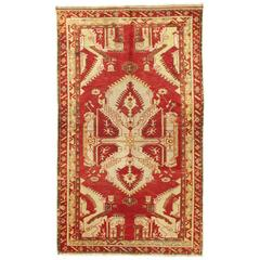 Antique Oushak Rug, Turkish Handmade Oriental Rug, Red, Beige, Bold Design 5x8