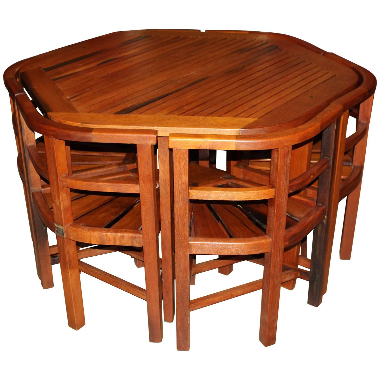 Teak Garden Table or Chair Set Made from Winston Churchill s Yacht