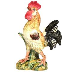 20th Century French Hand-Painted Barbotine Rooster with Vase Signed J. Massier