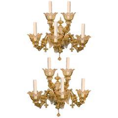 Impressive Pair of Blown Glass Venetian Sconces