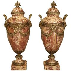 Pair of Gilt Bronze and Marble Cassolettes from France, circa 1880