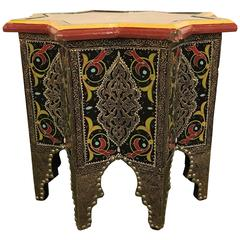 Star-Shaped End Table or Footstool with Ebony Inlays