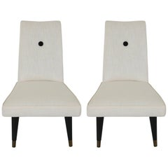 Pair of Mid-Century Modern Slipper Chairs in White and Black Upholstery