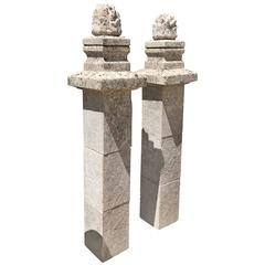 17th Century Antique Limestone Columns with Flame