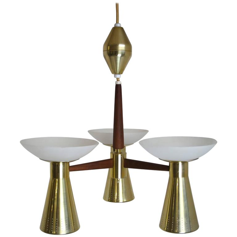 Modernist Perforated Brass and Walnut Chandelier, circa 1960s