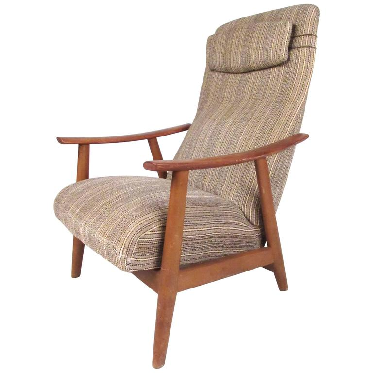 Scandinavian Modern High Back Teak Lounge Chair For Sale
