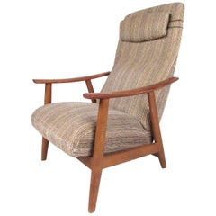 Scandinavian Modern High Back Teak Lounge Chair