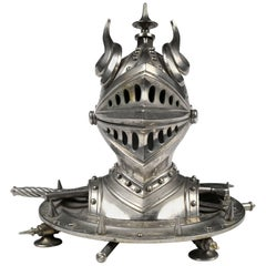 Late Victorian Knight Helmet Silver Plated Inkwell
