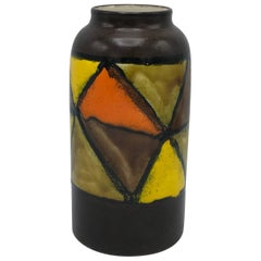 1960s, Italian, Bitossi Raymor Ceramic Polychrome Geometric Vase