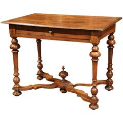 Late 18th Century French Walnut Side Table with Turned Legs and Stretcher