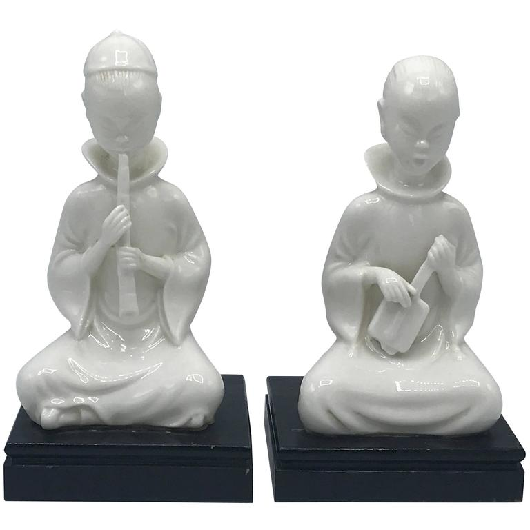 1960s Blanc-de-Chine Sculptures of Children Playing Instruments, Pair