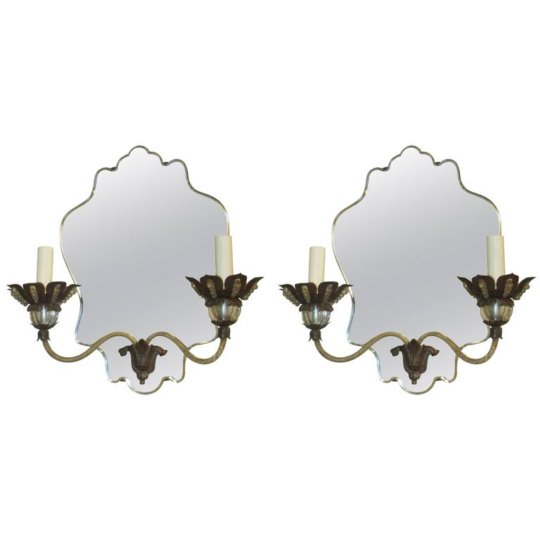 Pair of Venetian Mirrored-Back Two-Arm Sconces
