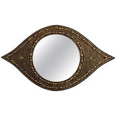 Eye Ball Form Art Deco Style Metal Wall Mirror
