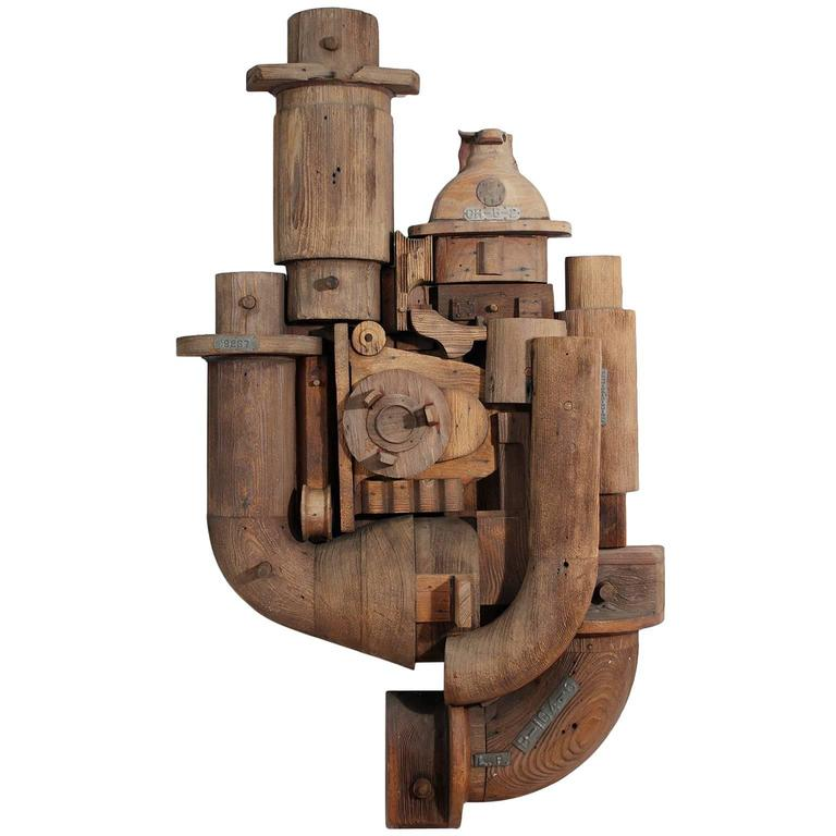 Abstract Wood Wall Sculpture Relief For Sale