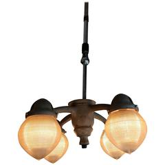1930s, Industrial Holophane and Steel Dentists Pendant Lamp Chandelier