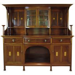 19th Century Wylie & Lochhead Arts & Crafts Inlaid Mahogany Sideboard