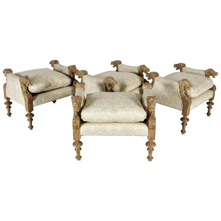 Fabulous Set of four Victorian Style Wood Carved & Upholstered Dog Head Benches
