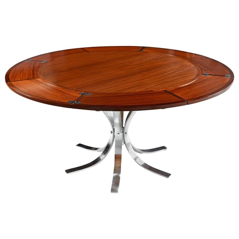 Danish Rosewood Chrome Tulip Base Lotus Expanding Flip Flap Table by Dyrlund