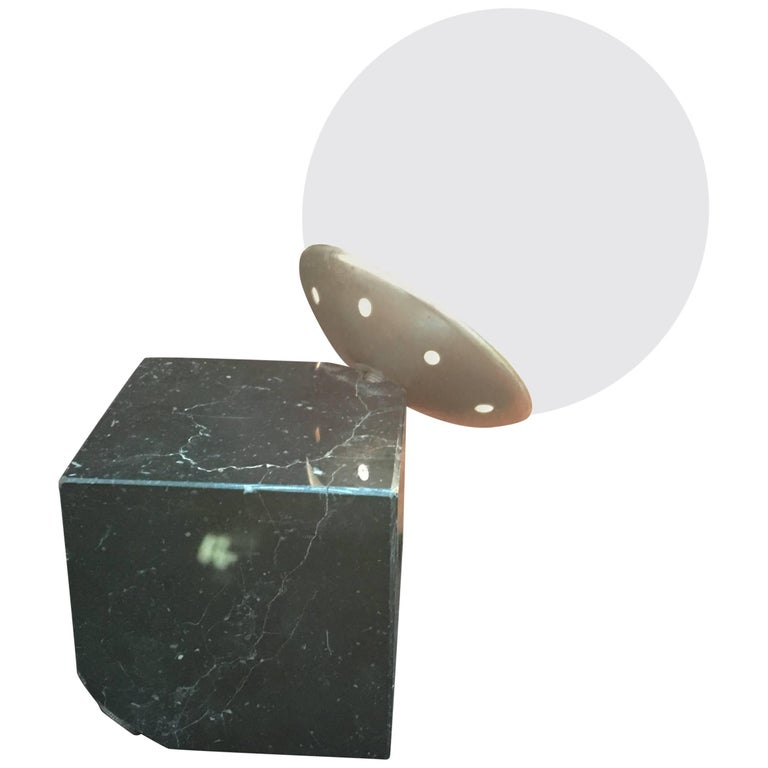 Vintage Black Marble Small Table Lamp Made in Italy, circa 1975
