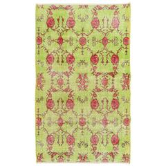 Floral Mid-Century Turkish Deco Rug in Lime Green and Rose Color