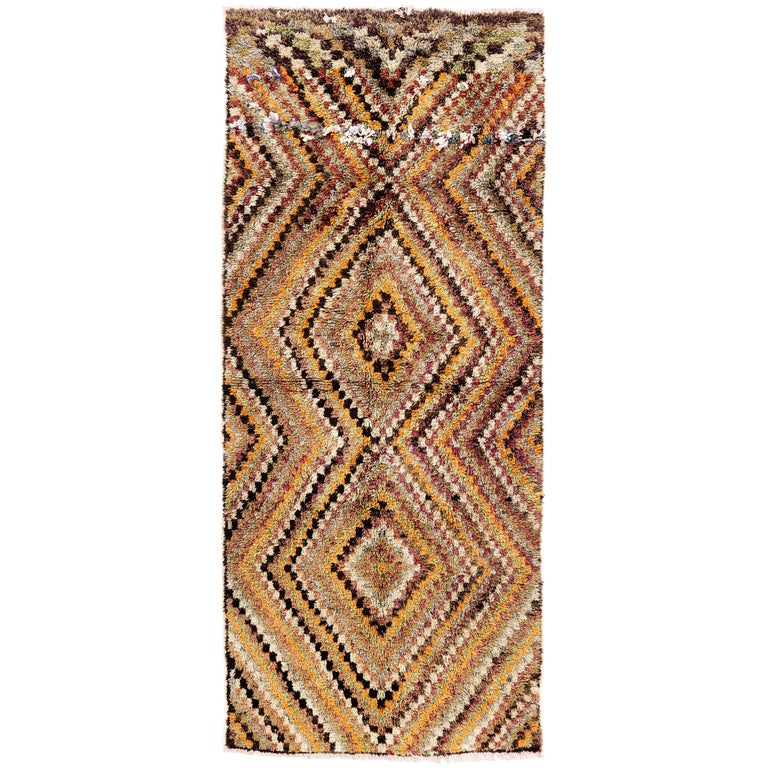 Yellow Checkered Rug: Checkered Mid-Century Tulu Rug In Earthy Colors For Sale