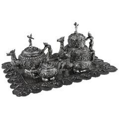Antique Burmese Solid Silver Sculptural Tea & Coffee Set on Tray, circa 1903