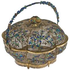 Antique Rare Chinese Solid Silver & Enamel Lidded Basket, Cutshing, circa 1790