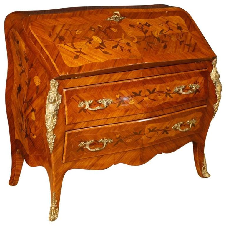 20th century inlaid bureau in louis xv style with gilt bronzes at 1stdibs