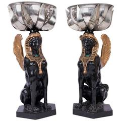 20th Century Plaster & Silver Plated Egyptian Revival Planters, Anthony Redmile