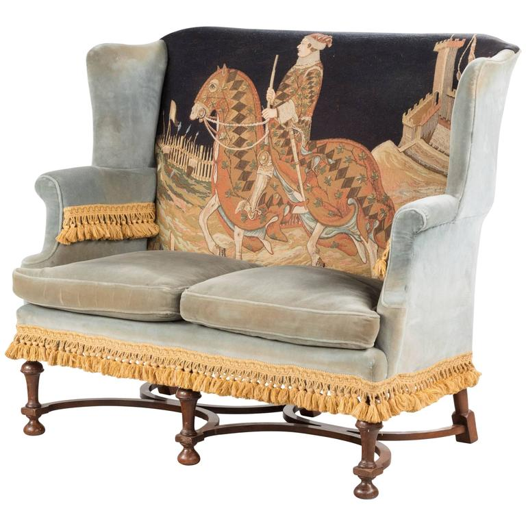 William and Mary Walnut Style Sofa with a Tapestry of a Horseman