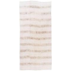 Midcentury Banded Anatolian Kilim Made of Natural Undyed Wool