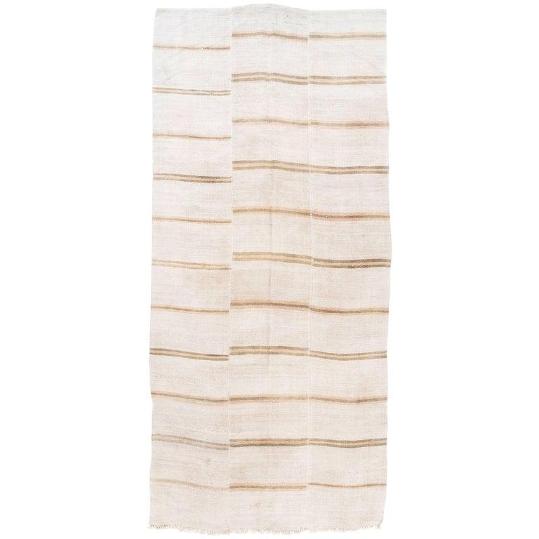 Vintage Striped Anatolian Kilim Made of Hemp