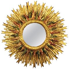 Unusual Baroque Style Spanish Giltwood Sunburst Mirror with Red & Green Accents