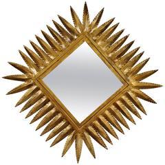 Spanish 1960s Hollywood Regency Style Gilt Iron Rhombus Sunburst Mirror