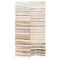 Striped Vintage Cotton Rag Rug, Flat-Weave Kilim