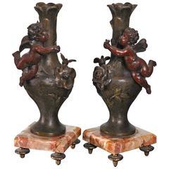 Antique Pair of Candlesticks Vases, Victorian, circa 1870