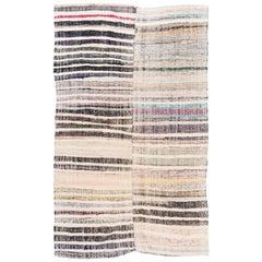 Striped Midcentury Cotton Kilim