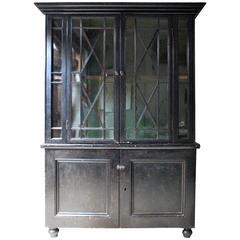 Early 19th Century Cornish Painted Pine Glazed Housekeeper's Cupboard circa 1810