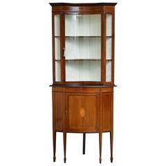 Unusual Edwardian Corner Display Cabinet