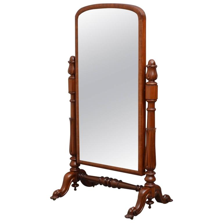 Victorian Mahogany Cheval Mirror For Sale